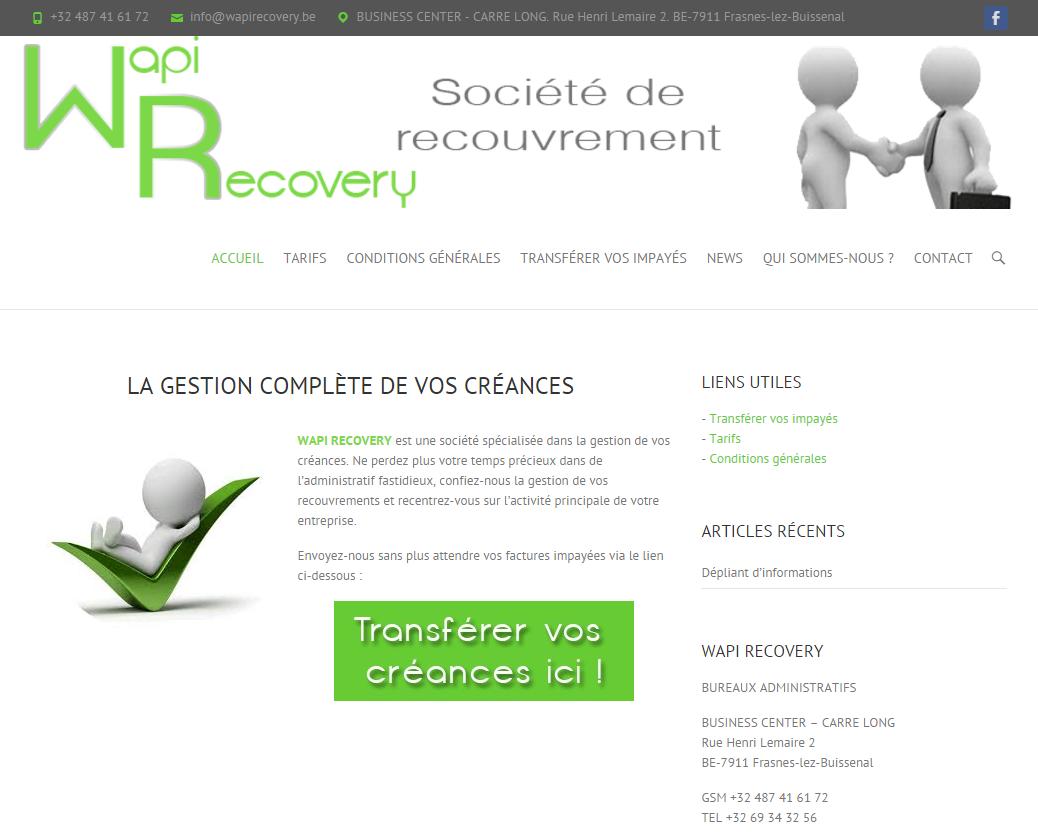 Wapi Recovery: Création site web